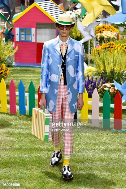 A model walks the runway during the Thom Browne Menswear Spring/Summer 2019 show as part of Paris Fashion Week on June 23 2018 in Paris France