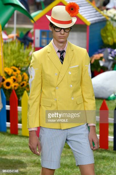 Model walks the runway during the Thom Browne Menswear Spring/Summer 2019 fashion show as part of Paris Fashion Week on June 23, 2018 in Paris,...