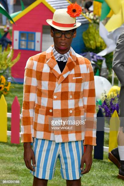 A model walks the runway during the Thom Browne Menswear Spring/Summer 2019 fashion show as part of Paris Fashion Week on June 23 2018 in Paris France