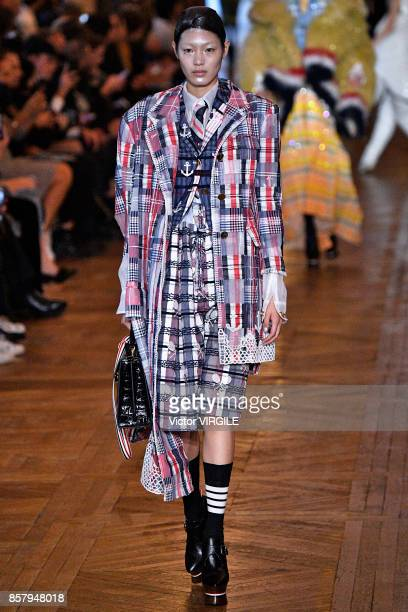A model walks the runway during the Thom Browne Ready to Wear Spring/Summer 2018 fashion show as part of the Paris Fashion Week Womenswear...