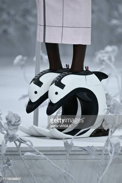 A model walks the runway during the Thom Browne Ready to Wear Spring/Summer 2020 fashion show as part of Paris Fashion Week on September 29 2019 in...