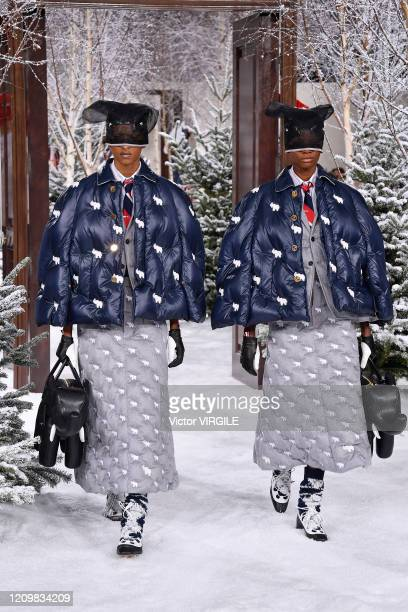 Model walks the runway during the Thom Browne Ready to Wear fashion show as part of the Paris Fashion Week Womenswear Fall/Winter 2020-2021 on March...
