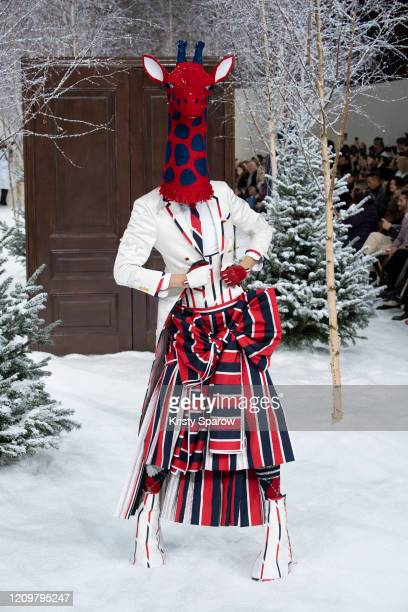 Model walks the runway during the Thom Browne show as part of Paris Fashion Week Womenswear Fall/Winter 2020/2021 on March 01, 2020 in Paris, France.