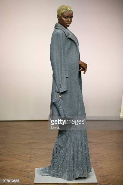A model walks the runway during the Thom Browne show as part of the Paris Fashion Week Womenswear Fall/Winter 2018/2019 on March 3 2018 in Paris...