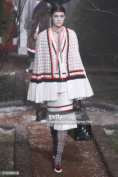 A model walks the runway during the Thom Browne Women's show as a part of Fall 2016 New York Fashion Week on February 15 2016 in New York City