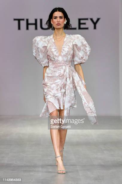 Model walks the runway during the Thurley show at Mercedes-Benz Fashion Week Resort 20 Collections at Carriageworks on May 15, 2019 in Sydney,...