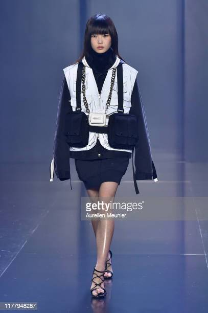 Model walks the runway during the Tmall Cool China Womenswear Spring/Summer 2020 show as part of Paris Fashion Week on September 29, 2019 in Paris,...
