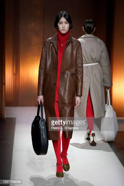 Model walks the runway during the Tod's fashion show as part of Milan Fashion Week Fall/Winter 2020-2021 on February 21, 2020 in Milan, Italy.