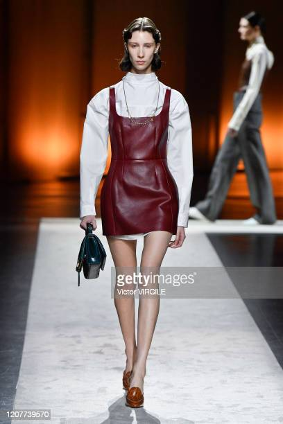 Model walks the runway during the Tod's Ready to Wear Fall/Winter 2020-2021 fashion show as part of Milan Fashion Week on February 21, 2020 in Milan,...