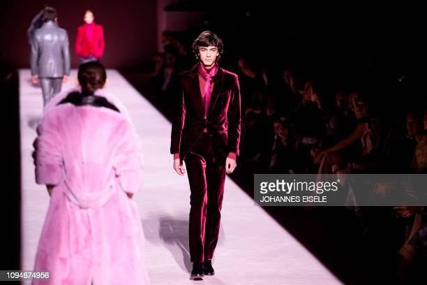 A model walks the runway during the Tom Ford fashion show at New York Fashion Week on February 6 2019 in midtown Manhattan New York City