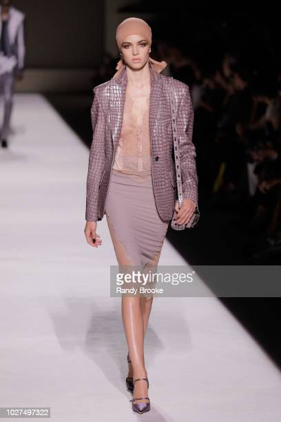 A model walks the runway during the Tom Ford fashion show September 2018 at New York Fashion Week at Park Avenue Armory on September 5 2018 in New...