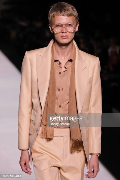 Model walks the runway during the Tom Ford fashion show September 2018 at New York Fashion Week at Park Avenue Armory on September 5, 2018 in New...