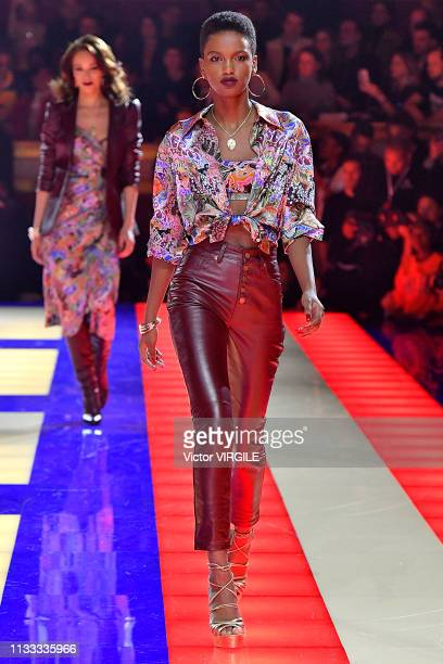 A model walks the runway during the Tommy Hilfiger TOMMYNOW Spring/Summer 2019 TommyXZendaya Premieres at Theatre des ChampsElysees on March 02 2019...