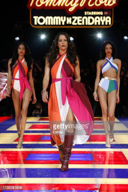 A model walks the runway during the Tommy Hilfiger TOMMYNOW Spring 2019 TommyXZendaya Premieres at Theatre des ChampsElysees on March 2 2019 in Paris...
