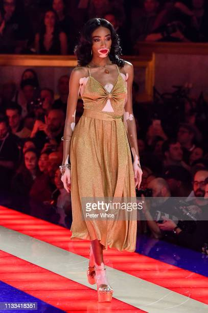 A model walks the runway during the Tommy Hilfiger TOMMYNOW Spring 2019 TommyXZendaya Premieres at Theatre des ChampsElysees on March 02 2019 in...