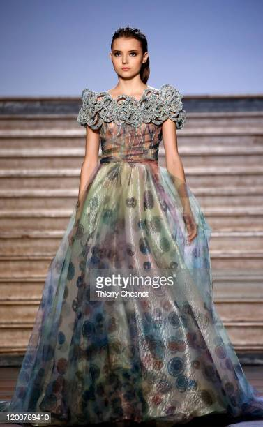 Model walks the runway during the Tony Ward - Haute Couture Spring/Summer 2020 show as part of Paris Fashion Week on January 20, 2020 in Paris,...