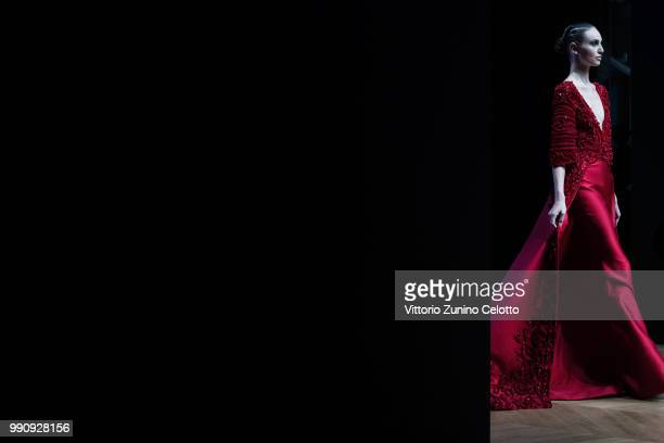 Model walks the runway during the Tony Ward Haute Couture Fall Winter 2018/2019 show as part of Paris Fashion Week on July 2, 2018 in Paris, France.