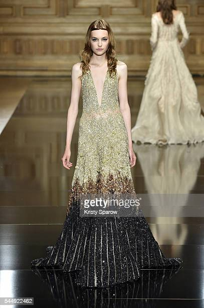 Model walks the runway during the Tony Ward Haute Couture Fall/Winter 2016-2017 show as part of Paris Fashion Week on July 4, 2016 in Paris, France.