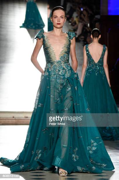 Model walks the runway during the Tony Ward Haute Couture Fall/Winter 2017-2018 show as part of Haute Couture Paris Fashion Week on July 3, 2017 in...