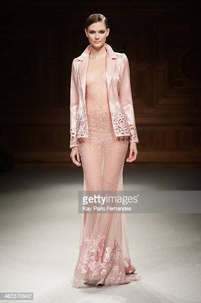 Model walks the runway during the Tony Ward show as part of Paris Fashion Week Haute Couture Spring/Summer 2015 on January 27, 2015 in Paris, France.