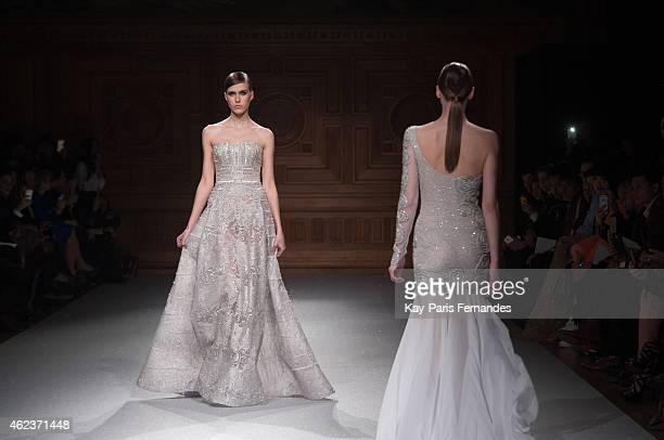 A model walks the runway during the Tony Ward show as part of Paris Fashion Week Haute Couture Spring/Summer 2015 on January 27 2015 in Paris France