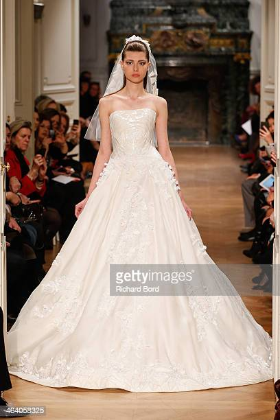 Model walks the runway during the Tony Ward show as part of Paris Fashion Week Haute Couture Spring/Summer 2014 on January 20, 2014 in Paris, France.