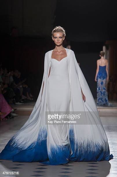 A model walks the runway during the Tony Ward show as part of Paris Fashion Week Haute Couture Fall/Winter 2015/2016 on July 6 2015 in Paris France