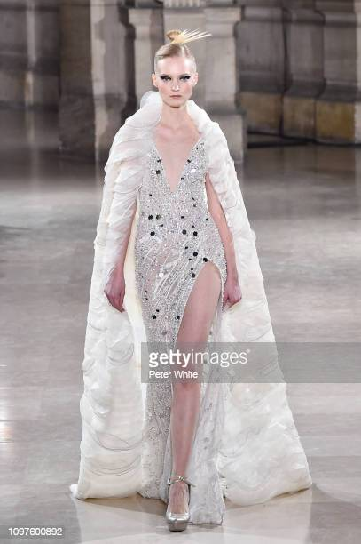 A model walks the runway during the Tony Ward Spring Summer 2019 show as part of Paris Fashion Week on January 21 2019 in Paris France