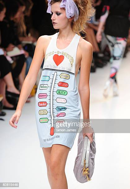 A model walks the runway during the TopShop Unique fashion show in the University of Westminster on 14 September 2008 in London England