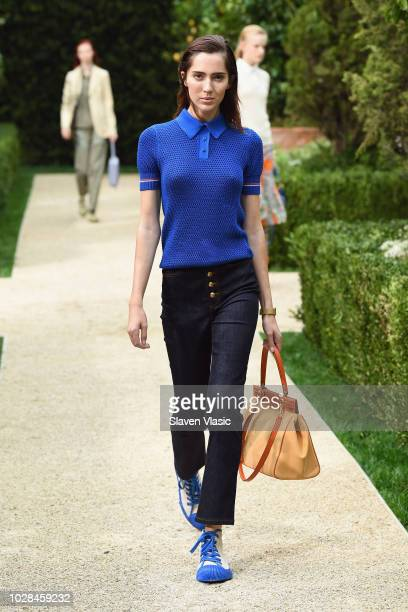 A model walks the runway during the Tory Burch Spring Summer 2019 Fashion Show at Cooper Hewitt Smithsonian Design Museum on September 7 2018 in New...