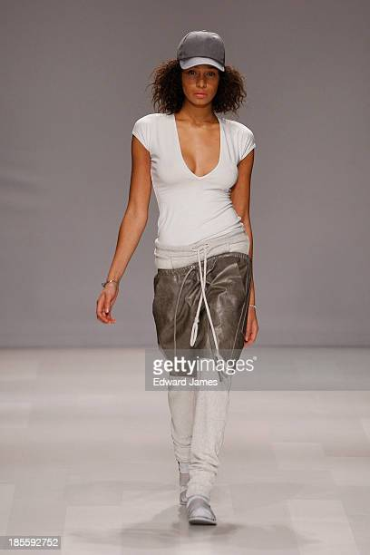 A model walks the runway during the Travis Taddeo fashion show at David Pecaut Square on October 22 2013 in Toronto Canada