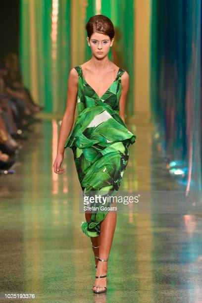 Model walks the runway during the Trelise Cooper show during New Zealand Fashion Week 2018 at Viaduct Events Centre on August 30, 2018 in Auckland,...