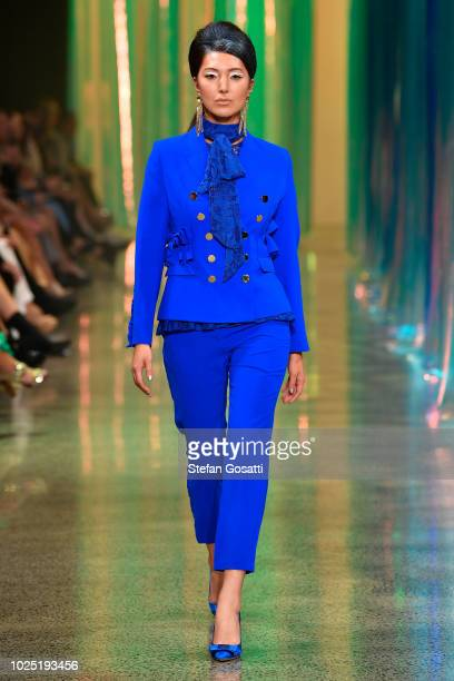 A model walks the runway during the Trelise Cooper show during New Zealand Fashion Week 2018 at Viaduct Events Centre on August 30 2018 in Auckland...