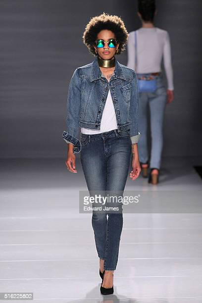 A model walks the runway during the Triarchy fashion show at David Pecaut Square on March 17 2016 in Toronto Canada