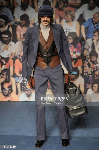 A model walks the runway during the Trussardi fashion show as part of Milan Fashion Week Menswear Autumn/Winter 2012 on January 15 2012 in Milan Italy