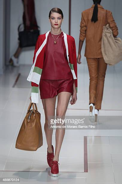 A model walks the runway during the Trussardi show as a part of Milan Fashion Week Womenswear Spring/Summer 2015 on September 21 2014 in Milan Italy
