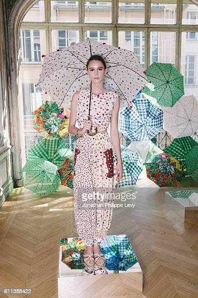 A model walks the runway during the Tsumori Chisato Presentation as part of the Paris Fashion Week Womenswear Spring/Summer 2017 on September 29 2016...