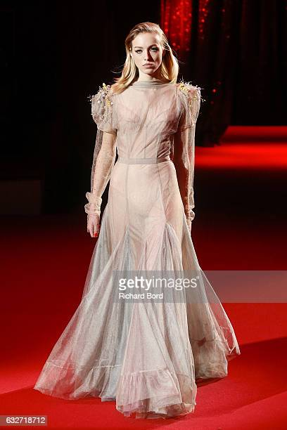A model walks the runway during the Ulyana Sergeenko Haute Couture Spring Summer 2017 show at Cirque d'Hiver as part of Paris Fashion Week on January...
