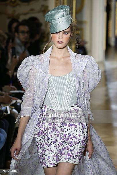Model walks the runway during the Ulyana Sergeenko Spring Summer 2016 show as part of Paris Fashion Week on January 27, 2016 in Paris, France.