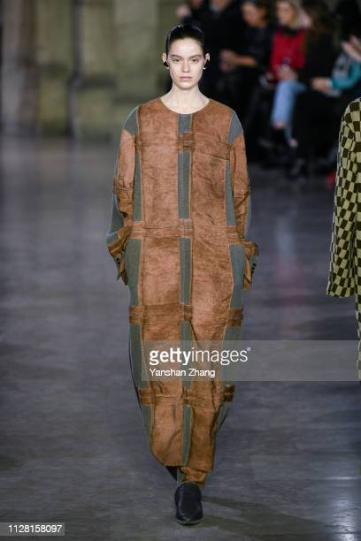 A model walks the runway during the Uma Wang show as part of the Paris Fashion Week Womenswear Fall/Winter 2019/2020 on February 28 2019 in Paris...