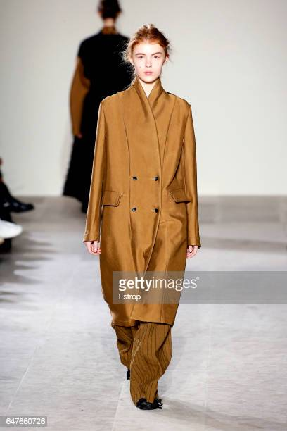 A model walks the runway during the Uma Wang show as part of the Paris Fashion Week Womenswear Fall/Winter 2017/2018 on March 3 2017 in Paris France