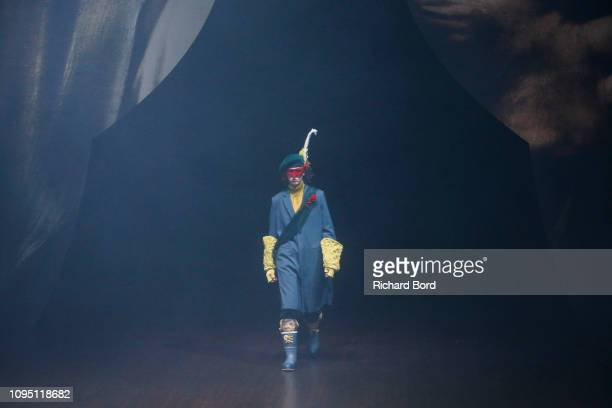 Model walks the runway during the Undercover Menswear Fall/Winter 2019-2020 show as part of Paris Fashion Week on January 16, 2019 in Paris, France.