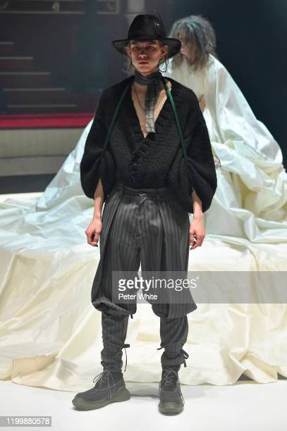 Model walks the runway during the Undercover Menswear Fall/Winter 2020-2021 show as part of Paris Fashion Week on January 15, 2020 in Paris, France.