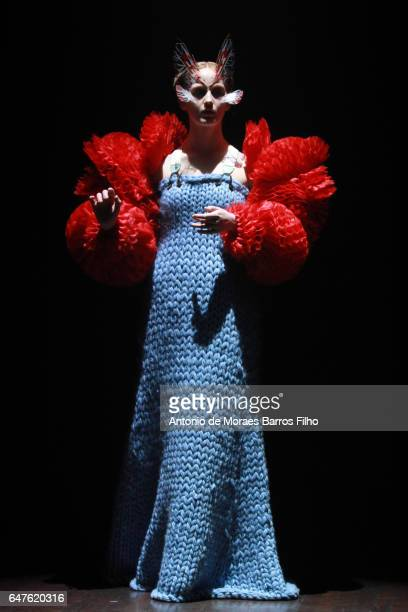 Model walks the runway during the Undercover show as part of the Paris Fashion Week Womenswear Fall/Winter 2017/2018 on March 3, 2017 in Paris,...
