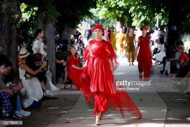 Model walks the runway during the Vaishali S Couture Haute Couture Fall/Winter 2021/2022 show as part of Paris Fashion Week on July 08, 2021 in...