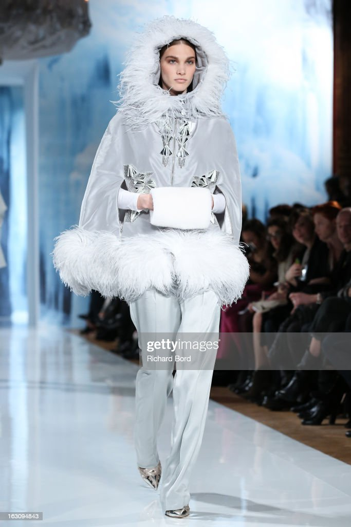 A model walks the runway during the Valentin Yudashkin Fall/Winter 2013 Ready-to-Wear show as part of Paris Fashion Week at Hotel Westin on March 4, 2013 in Paris, France.