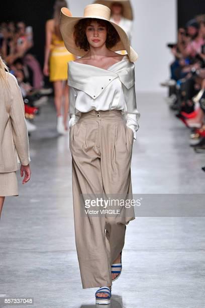 A model walks the runway during the Valentin Yudashkin Paris Ready to Wear Spring/Summer 2018 fashion show as part of Paris Fashion Week Womenswear...