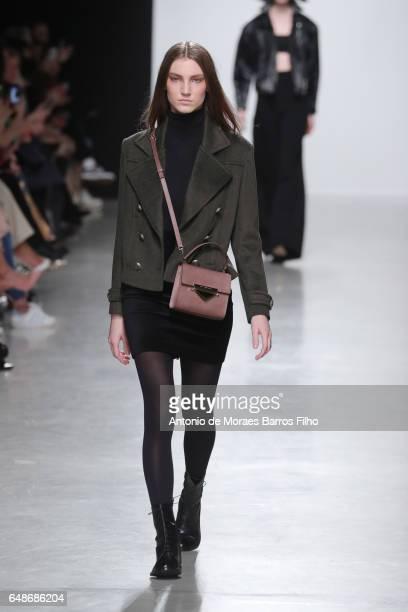 Model walks the runway during the Valentin Yudashkin Paris show as part of the Paris Fashion Week Womenswear Fall/Winter 2017/2018 on March 6, 2017...