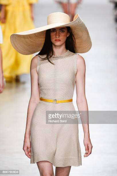 A model walks the runway during the Valentin Yudashkin Paris show as part of Paris Fashion Week Womenswear Spring/Summer 2018 on October 2 2017 in...