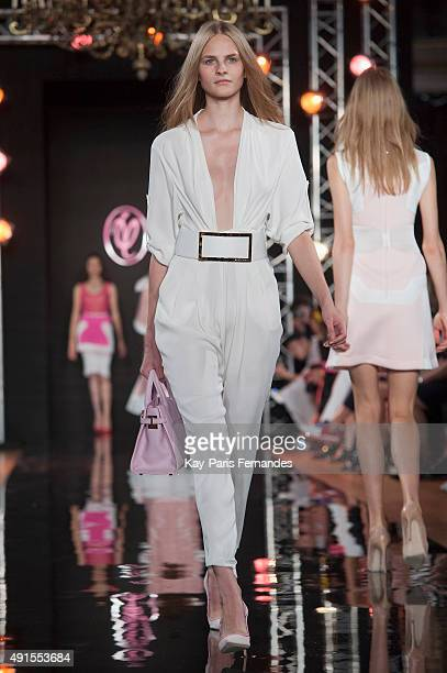 Model walks the runway during the Valentin Yudashkin show as part of the Paris Fashion Week Womenswear Spring/Summer 2016 on October 6, 2015 in...